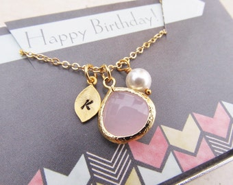 Birthday Gift for Her, Birthstone Necklace with Card, You Choose Color and Initial, Gold Birthstone Jewelry, Personalized Gift for Women