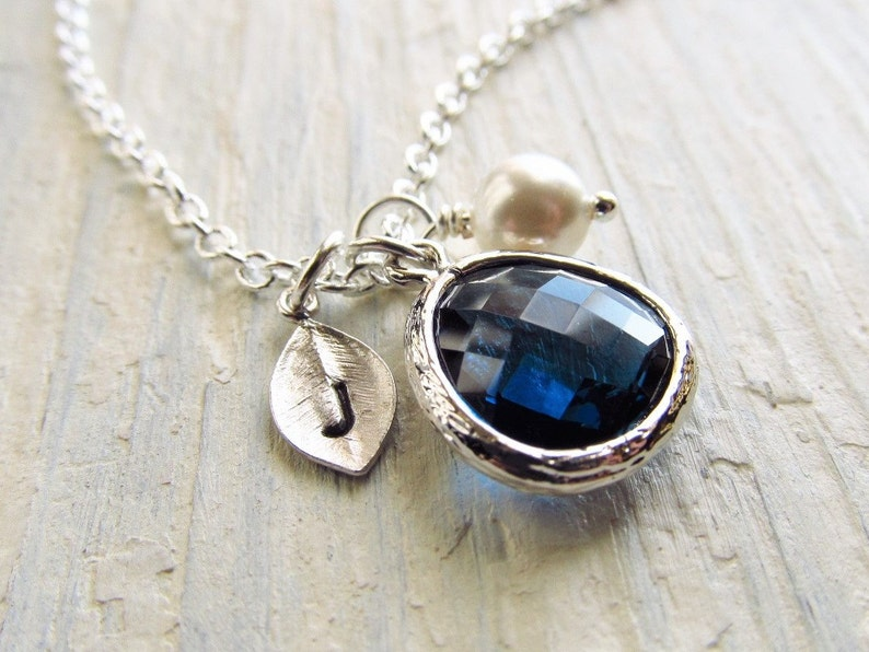 September Birthstone Necklace Initial Necklace Birthstone image 0