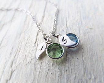 Personalized Mom Necklace with Birthstones and Initials, Mom Jewelry, Mothers Jewelry, Birthstone Necklace, Family Necklace, 1-6 Birthstones