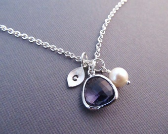 Amethyst Necklace, Silver February Birthstone Necklace, Leaf with Initial, Jewel, and Pearl, Personalized Necklace, February Birthday Gift