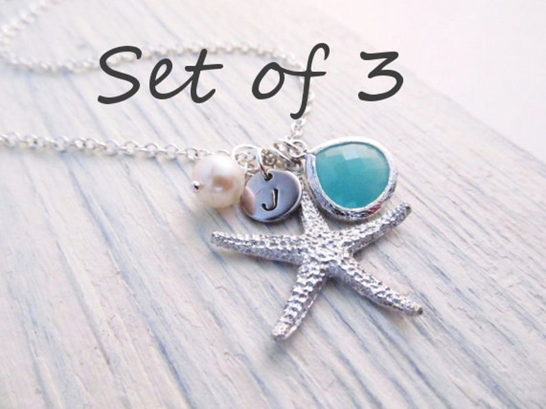 Beach Wedding Jewelry Set of 3 Starfish Necklace Custom Color Bridal Party Jewelry Personalized Bridesmaid Gift Beach Necklace
