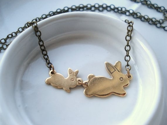 Kids  Bunny Pouch Necklace Made to Order