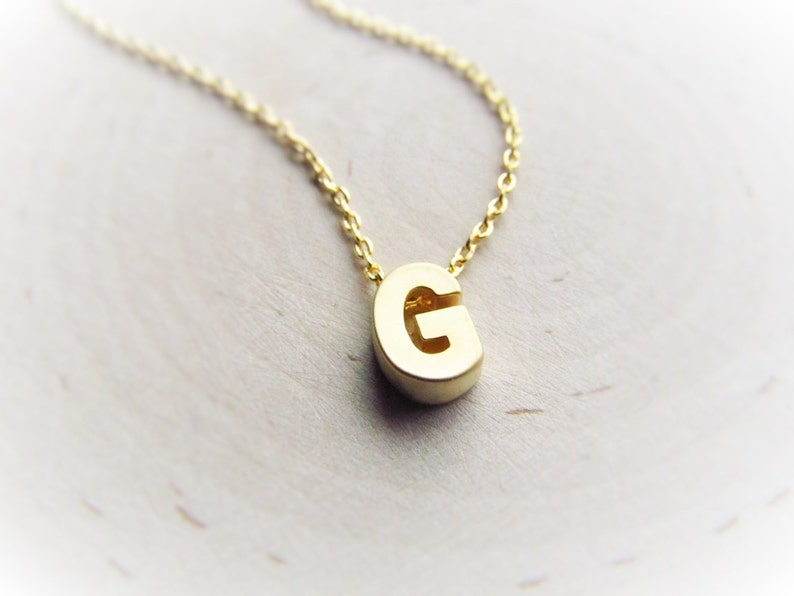 Gold Initial Necklace Tiny Letter Necklace Initial Jewelry image 0