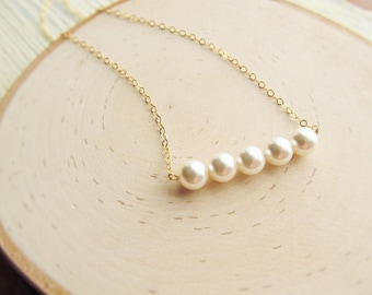 Pearl Necklace Bridesmaid, Pearl Bar Necklace, 14kt Gold Filled, You Choose Color, Beaded Necklace, Layering Necklace, Bridesmaid Gift
