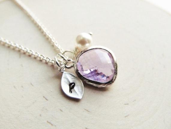 June Necklace,June Jewelry,Alexandrite Necklace,Pearl,Pearl Necklace,Lavender,Initial Necklace,Lavender Necklace,Personalized,Monogram Neckl