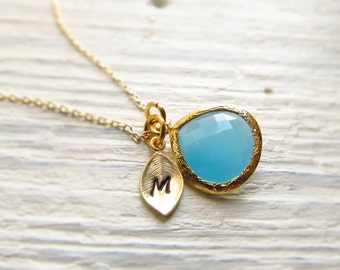 Bridesmaid Necklace, Birthstone Necklace Initial, Personalized Bridesmaid Gift, Gold Personalized Jewelry, Bridal Jewelry, You Choose Color