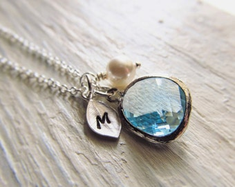 Aquamarine Necklace, March Birthstone Necklace, Personalized Necklace, Birthstone Jewelry, March Birthday Gift, Simulated Aquamarine Jewelry