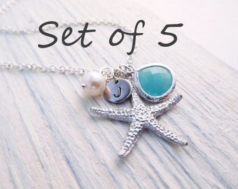 Beach Wedding Jewelry Set of 5 -- Starfish Necklace, Beach Necklace, Personalized Bridesmaid Gift,  Bridal Party Jewelry, Custom Color