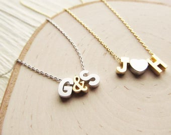Two Initial Necklace with Heart or Ampersand, Gold or Silver Letter Necklace, Personalized Couples Jewelry for Valentines Day or Anniversary