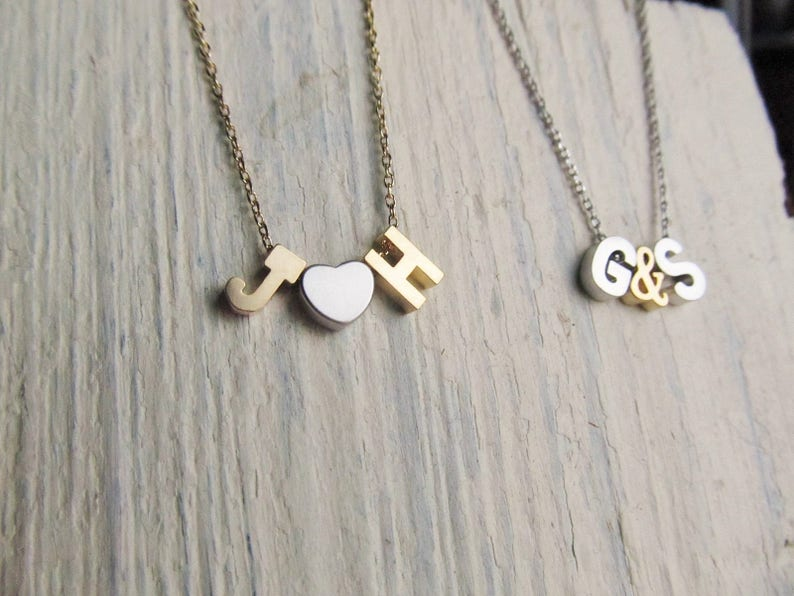 Two Initial Necklace with Heart or Ampersand Gold or Silver Letter Necklace Personalized Couples Jewelry for Valentines Day or Anniversary