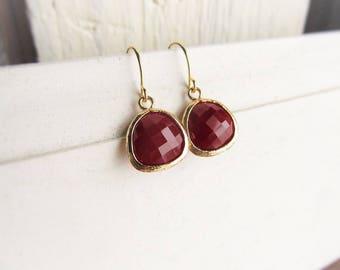 Garnet Earrings, Gold January Birthstone Earrings, Dangle Earrings, Garnet Jewelry, Birthday Gift for Her, January Birthstone Gift Idea