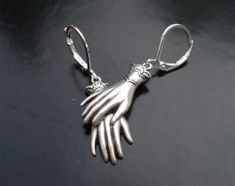 Hand Earrings, Silver Drop Dangle Earrings, Macabre Jewelry, Statement Earrings, Halloween Earrings, Victorian Gloves, Palmistry Jewelry