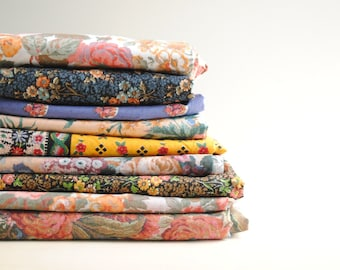 Lot of 9 Vintage Fabrics, Floral Fabric, Calico Fabric, Pink Floral Fabric