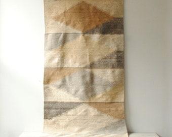 Vintage Neutral Wool Throw Rug, 5.5' x 2.5', Indian Rug, Geometric Rug