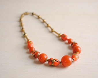 Vintage Orange and Gold Beaded Necklace with Enameled Metal Accents, Orange Jade Bead Necklace