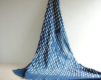 "Vintage African Indigo Textile, Indigo Throw Blanket, Indigo Fabric, Blue and White Indigo, 66"" x 46"" Indigo Textile"