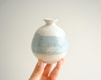 Vintage Small Blue and White Handmade Stoneware Ceramic Vase, Pottery Vase, Weed Vase