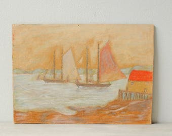 Vintage Boat Pastel Drawing, New Hampshire Sea Village Painting, Original Signed Art, Wall Art, Pastel Painting, Nautical Art