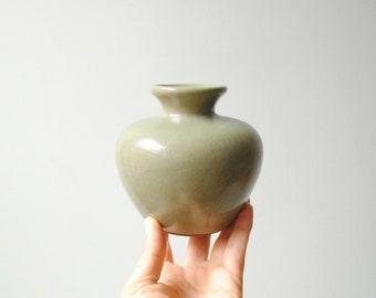 Vintage Green Vase, Flower Vase, Ceramic Vase, Pottery Vessel, Small Vase