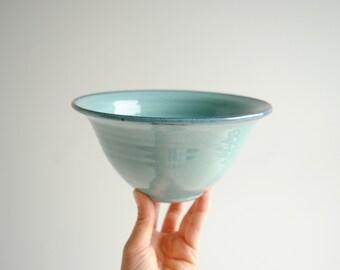 Vintage Ceramic Colander, Pottery Colander Strainer, Turquoise Blue Pottery Colander