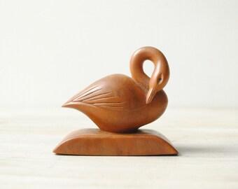 Vintage Carved Wood Swan Figurine, Wood Bird Carving, Swan Carving