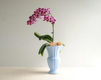 Vintage Blue Ceramic Vase, Large Mid Century Flower Vase