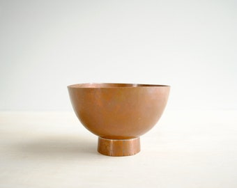 Vintage Hammered Copper Bowl, Small Copper Footed Dish