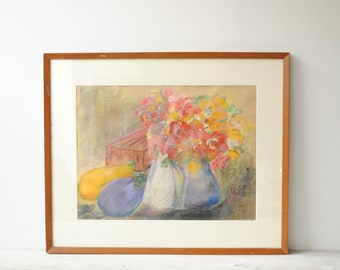 Vintage Pastel Still Life Drawing, Pastel Drawing, Wall Art, Vintage Art, Flower Drawing, Flower Painting