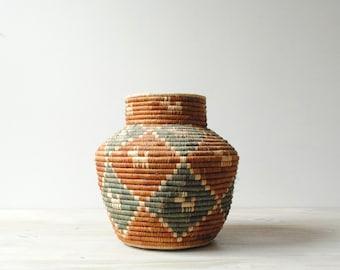 Vintage Coil Olla Basket, Native American Indian Basket with Dog Motif