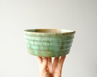 Vintage Pottery Planter, Green Plant Pot, Retro Planter, Ceramic Plant Pot, Ceramic Bowl
