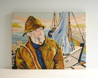 """Vintage Fisherman Needlepoint Wall Hanging, 26"""" x 20"""" Nautical Fisherman with Smoking Pipe and Boats and the Marina"""