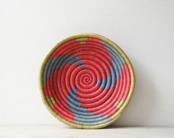 Vintage Basket Bowl, African Basket, Wall Basket, Boho Basket, Coil Basket, Pink Basket