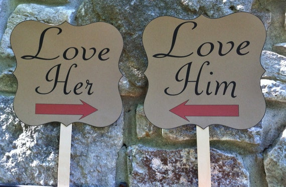 Items similar to love her love him - wedding engagement