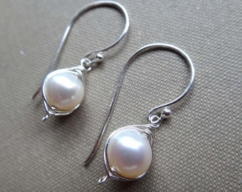 3cfcfa203 Pearl and silver earrings white pearl earrings single white pearl drop  earrings sterling silver wire wrapped pearl earrings June birthstone