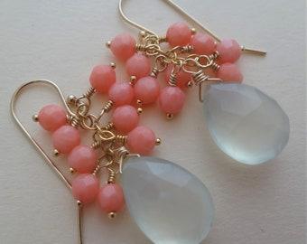 Aqua gemstone earrings, aqua and coral earrings, aqua earrings, gemstone cluster earrings, aqua chalcedony earrings, coral earrings handmade