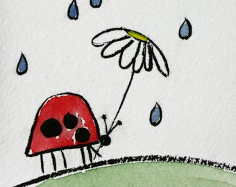 Red lady bug in rain, original watercolor, flower umbrella, red and green, simple, pen and ink, spring rain, small art, double matted, black