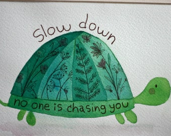 Original watercolor painting, turtle, inspirational, children's art, nursery art, whimsical, square matted art, pen and ink, green brown