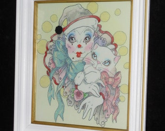 Framed Embroidered Mime With Cat Cross Stitch Clown Completed