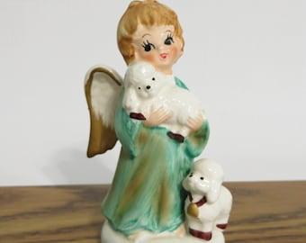 Vintage Lefton Angel with Lambs Figurine