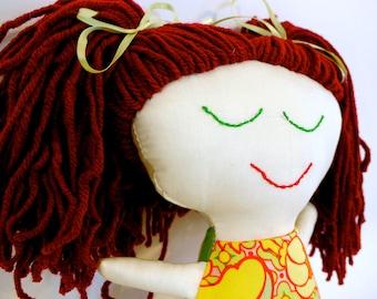 Handmade Rag Doll. Red Hair. Ready to Ship.  OOAK