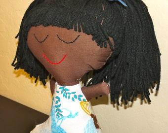 Multi-Ethnic Rag Doll.  Brown skin and black hair.  Handmade.  OOAK