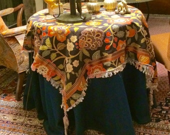 "Tablecloth hand fringed square with shabby tassels fits 30"" to 36"" round table exotic print with banding"