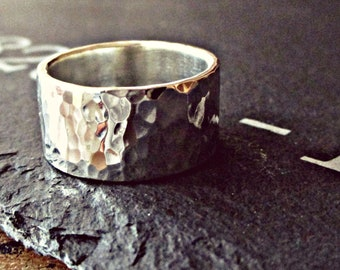 Rings for men - FATHERS DAY - chunky wedding band - personalised ring - personalised jewellery - UK - hammer time! - wedding ring