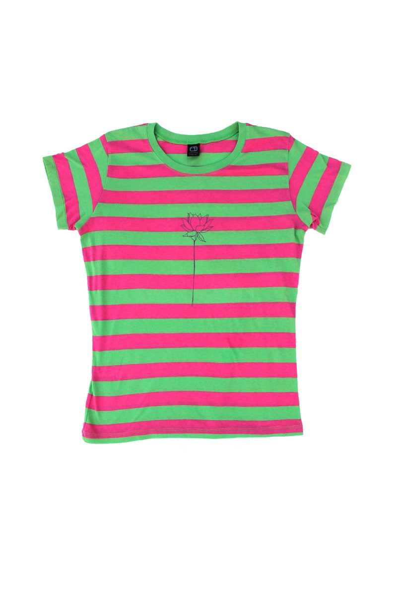 ce5d7be0c7f27 Screen Printed Lotus flower Striped Cotton T-shirt. Pink and Green Striped  T-Shirts with Cap Sleeves,