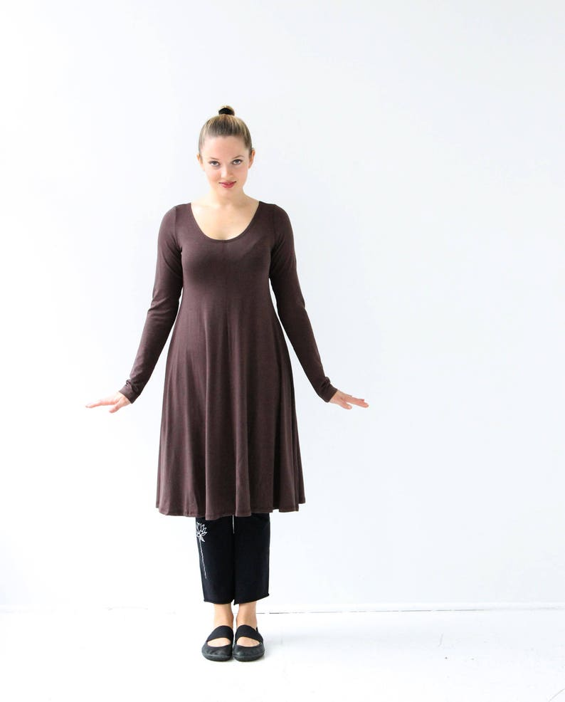 7da04da0af29 Brown dress women casual long sleeve dress Brown long sleeve