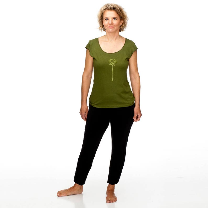ca938d09a758d Olive Green t-shirt/Lotus Flower tshirt/Cap Sleeve tee/Screenprinted  tshirt/Yoga Wear/American Apparel