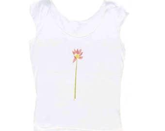 "Sale  Lotus Flower Tee  Lotus Tee  White t-shirt   Women""s Graphic Tee   Womens Tees   Scoop Neck Top   Cap Sleeve t-shirt Women  Yoga Top  "