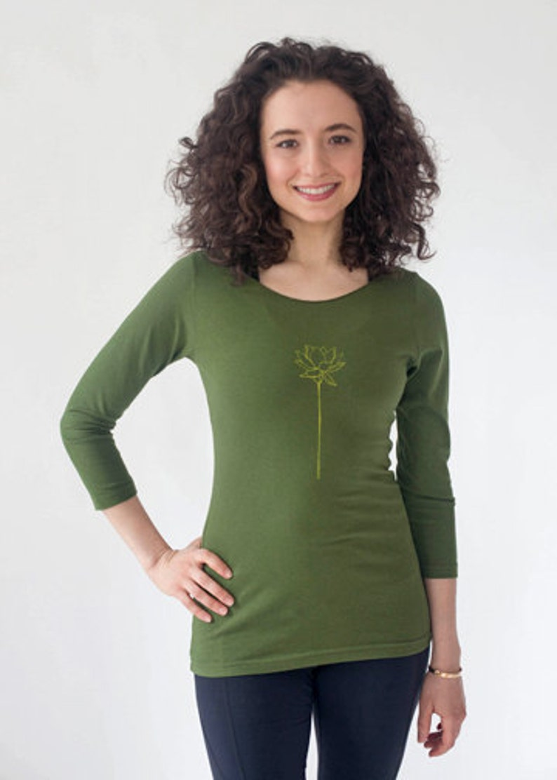 72749cc197f45 Women's Olive Green Lotus Flower 3/4 Sleeve Boat Neck Tee, Cotton, American  Apparel, Screen Printed Art, Handmade, Yoga Wear, Casual Clothes