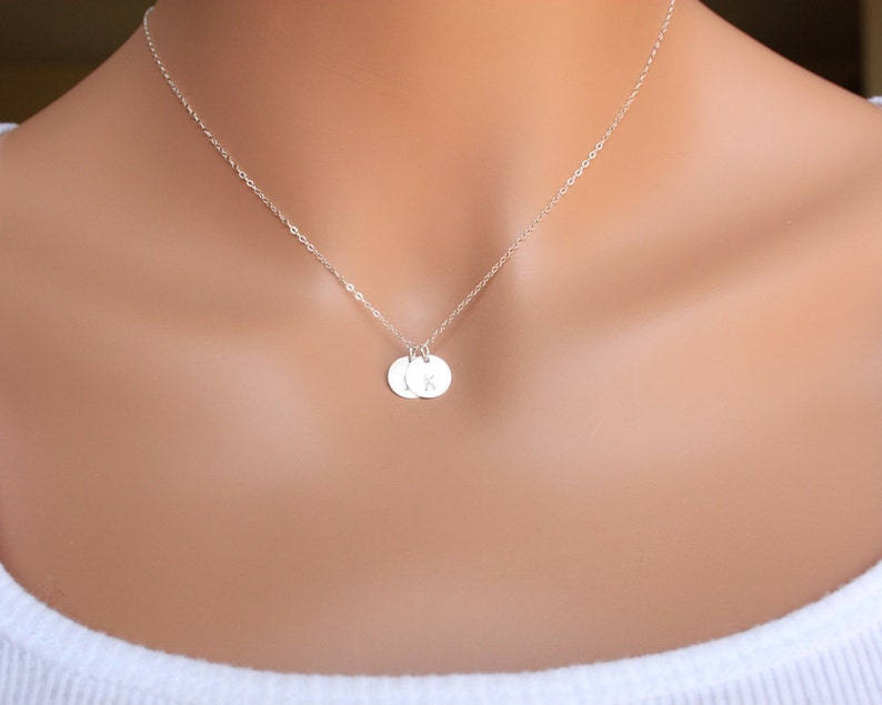 Birthday gift engraved monogrammed Disk Customized Two Initial Disks Necklace All Sterling Silver Mom/'s Necklace personalized necklace