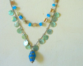 Pearl Shells Aqua Blue Silver Necklace, Beaded Pendant Necklace,Philippines,  Anniversary Gift, Mother's Day Gift